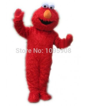 High Quality Long Fur Elmo Mascot Costume Sesame Street Cartoon Elmo Party Carnival Halloween Christmas Mascot Free Shipping