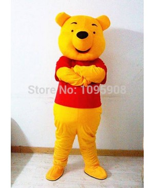 High Quality Winnie Mascot Costume Winnie the Pooh Bear Mascot Costume Adult Party Carnival Christmas Mascot Free Shipping
