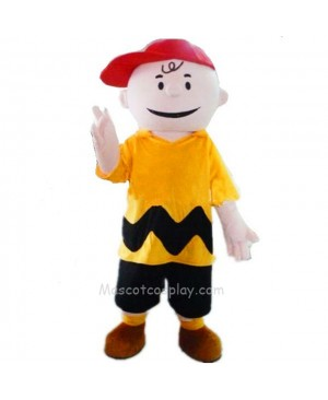 Yellow T-shirt Boy with Red Hat Charlie Brown Mascot Costume