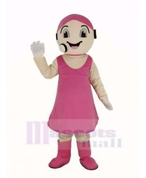 Customer Service Representative in Pink Dress Mascot Costume