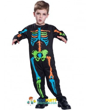 Carnival Anime Costume Halloween For Kids Scary Boy Skeleton Costume Black Pyjama Jumpsuit  Cosplay