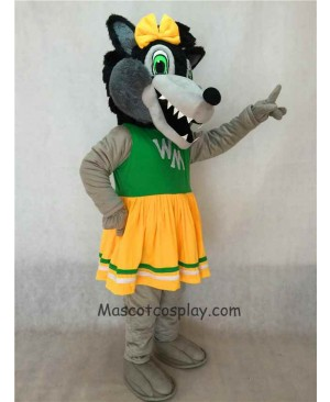 New Grey Big Female Wolf Mascot Costume with Green and Yellow Dress