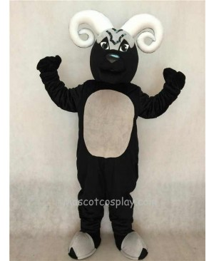 Hot Sale Adorable Realistic New Black Blocking Ram Mascot Costume with White Horns