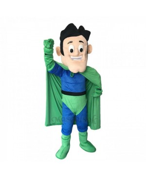 New Super Hero in Blue and Green Mascot Costume