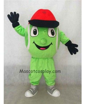 Hot Sale Adorable Realistic New Green Tennis Ball Mascot Costume Cartoon Costume with Red Hat