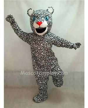 Hot Sale Adorable Realistic New White Leopard Cub Mascot Costume with Blue Eyes