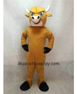 Hot Sale Adorable Realistic New Light Brown Cartoon Bull Mascot Costume