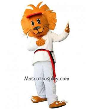 White Happy Lion Plush Adult Mascot Costume