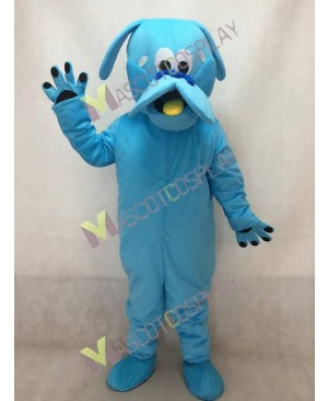 Blue Dog Mascot Costume with Yellow Tongue