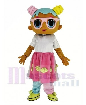 Giant LOL Doll Bonbon Wearing Pink Glasses Mascot Costume
