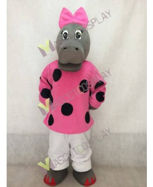 Hilary Hippo Mascot Costume with Pink Bow