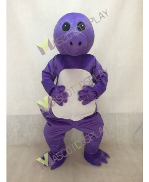 Purple Dinosaur Mascot Costume with White Belly