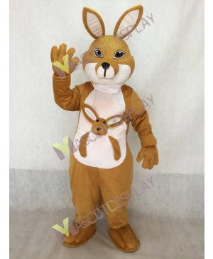 Tan Kangaroo with Joey Mascot Costume