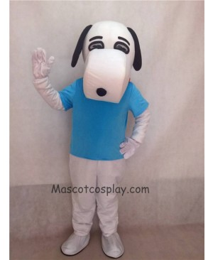 Hot Sale Adorable Realistic New Popular Professional White Snoopy Dog Mascot Costume with Black Ears in Blue Shirt