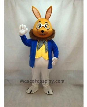 High Quality Easter Cute Mr. Brown Bunny Mascot Costume in Coat