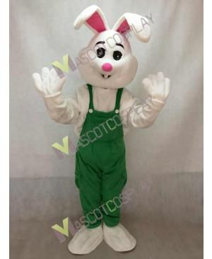 Easter Bunny Rabbit Boy Mascot Costume in Green Overalls