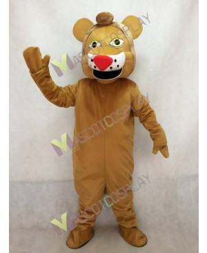 Yellow Lion Mascot Costume in Red Nose