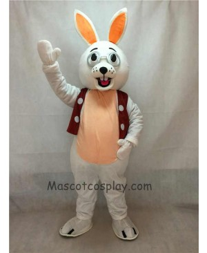 High Quality Easter White Bunny Rabbit with Glasses and Vest Mascot Costume