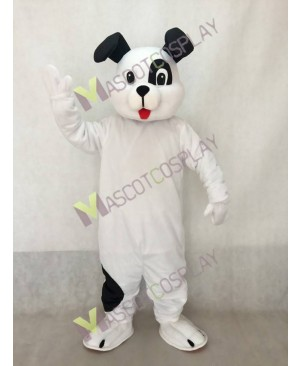 Cute White Poochie Pup Dog Mascot Costume with Black Ears
