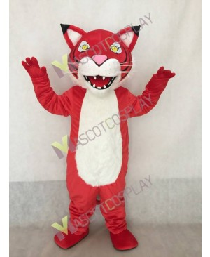 Custom Color Red Fierce Wildcat Mascot Costume