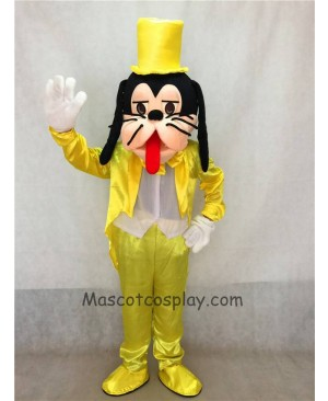 High Quality Yellow Suit and Hat Goofy Dog Mascot Adult Costume