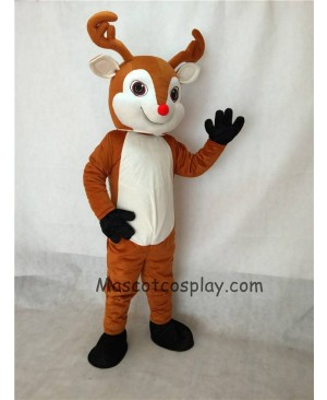 High Quality Rudolph The Red Nose Deer Reindeer Mascot Costume