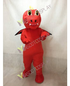 Custom Color Red Dragon Mascot Costume with Black Wings