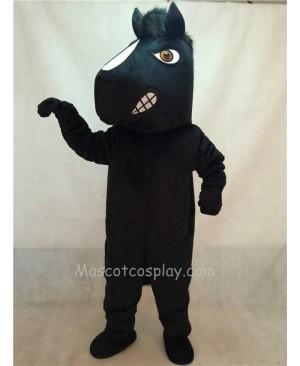 High Quality Energetic Adult Black Stallion Horse Mascot Costume