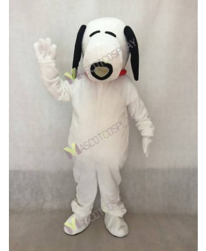 White Snoopy Dog with Red Collar Mascot Costume