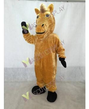 Cute Yellow Wild Stallion Horse Mascot Costume