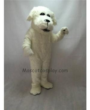 Cute White Plush Fluff Dog Mascot Costume