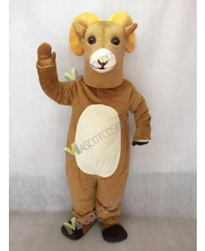 Hot Sale Tan Rocky Ram Mascot Costume with White Belly
