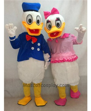 High Quality Cute Pink and Blue Donald Duck Couple Mascot Adult Costume