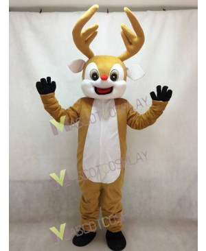 High Quality Red Nose Yellow Reindeer Adult Mascot Costume