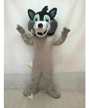 Realistic Adult Big Black Bad Wolf Head Only Mascot Costume