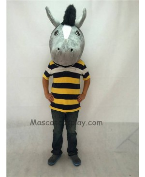 Fierce New Gray Mustang Horse Head ONLY Mascot Costume