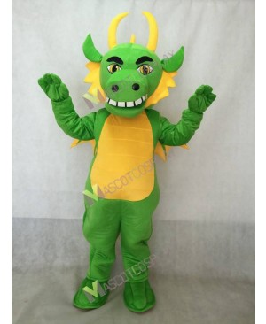 Realistic Adult Light Green Dragon with Wings Mascot Costume