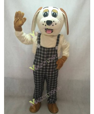 High Quality Adult Lucky Dog with Brown Ears Mascot Adult Costume