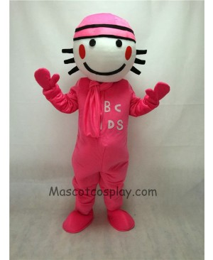 Cute Pink Round Head Doll Mascot Costume