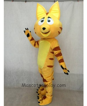 High Quality Adult Light Yellow Cat Adult Mascot Costume with Brown Stripes
