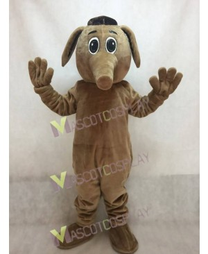 Cute Brown Comic Aardvark Mascot Costume