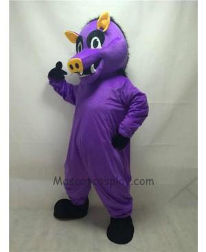 Cute Purple Razorback Feral Pig Hog Wild Boar Mascot Costume