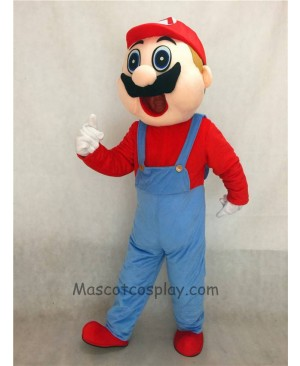 High Quality Realistic New Friendly Red Super Mario Bros Short Plush Adult Mascot Costume