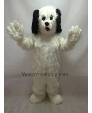 Cute White Shaggy Maggy Dog Plush Mascot Costume with Black Ears