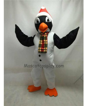 Cute Christmas Penguin with Scarf & Santa Hat Mascot Costume