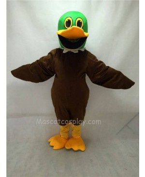 Cute Brown Mallard Duck with Green Head Mascot Costume