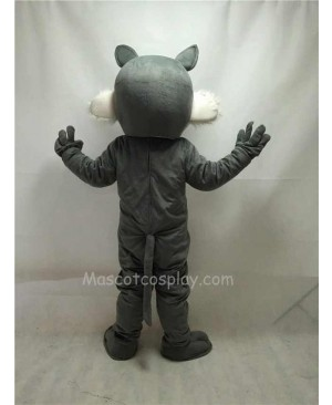 Fierce Gray Short-haired Wolf Mascot Costume