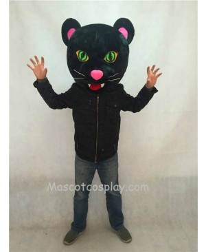 Hot Sale Adorable Realistic New Black Panther Mascot Costume HEAD ONLY with Green Eyes