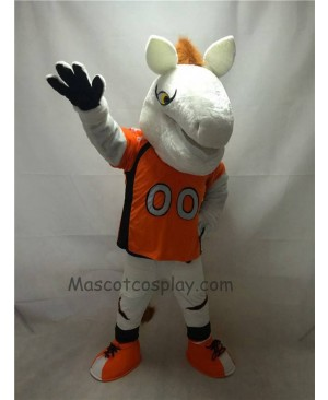 Cute White Denver Broncos Mustang Horse Mascot Costume