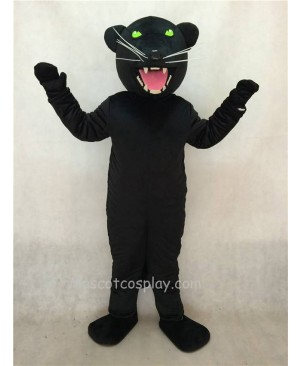 Hot Sale Adorable Realistic New Black Pantera Panther Mascot Costume with Green Eyes